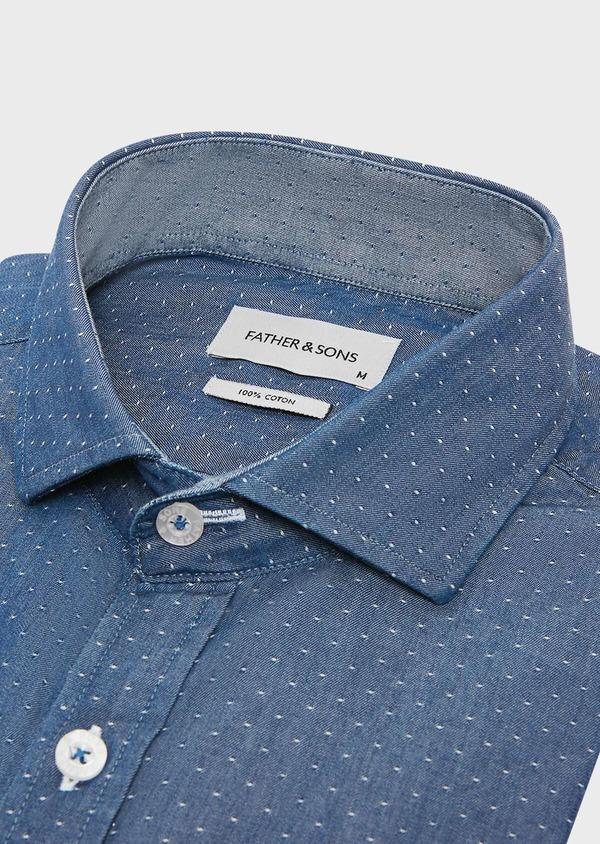 Chemise sport Slim en twill de coton bleu jeans à pois blancs - Father and Sons 32528