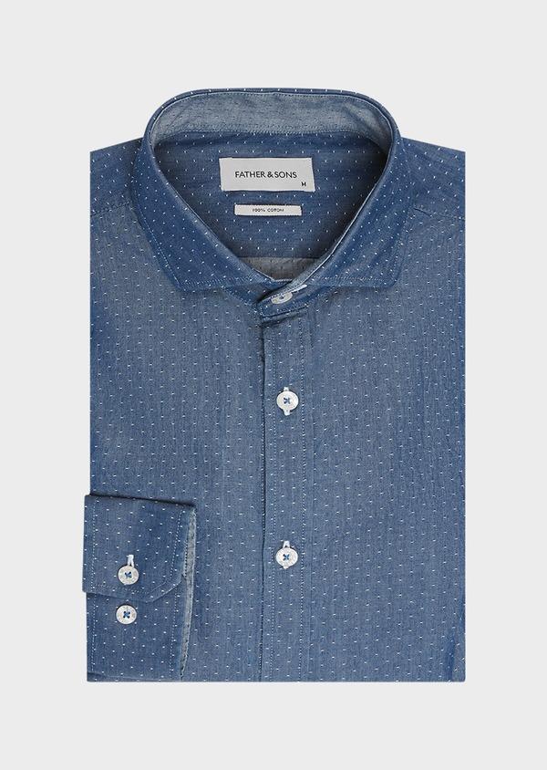 Chemise sport Slim en twill de coton bleu jeans à pois blancs - Father and Sons 32526