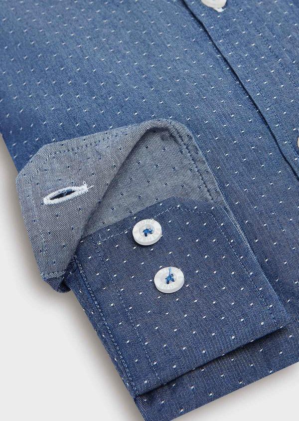 Chemise sport Slim en twill de coton bleu jeans à pois blancs - Father and Sons 32529