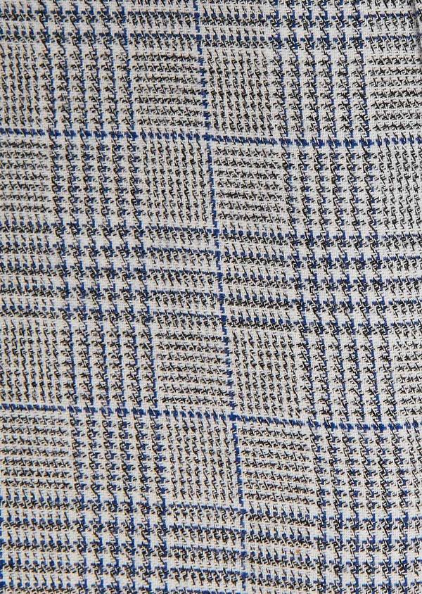 Chemise sport Slim en coton bleu indigo jacquard à motif prince de galles - Father and Sons 26332