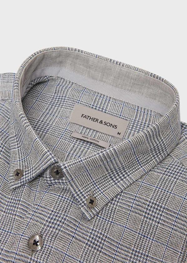 Chemise sport Slim en coton bleu indigo jacquard à motif prince de galles - Father and Sons 26333