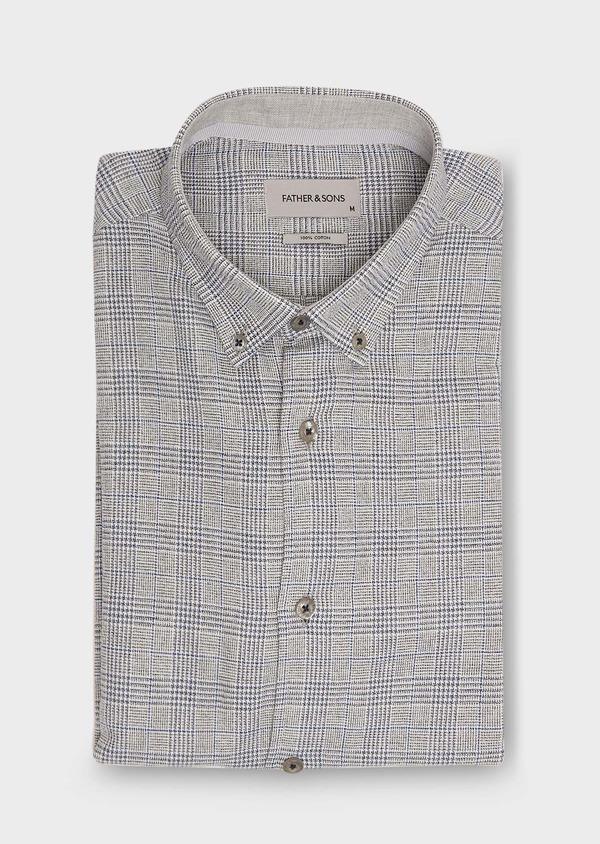 Chemise sport Slim en coton bleu indigo jacquard à motif prince de galles - Father and Sons 26331