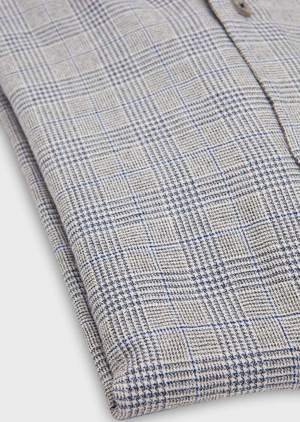 Chemise sport Slim en coton bleu indigo jacquard à motif prince de galles - Father and Sons 26334