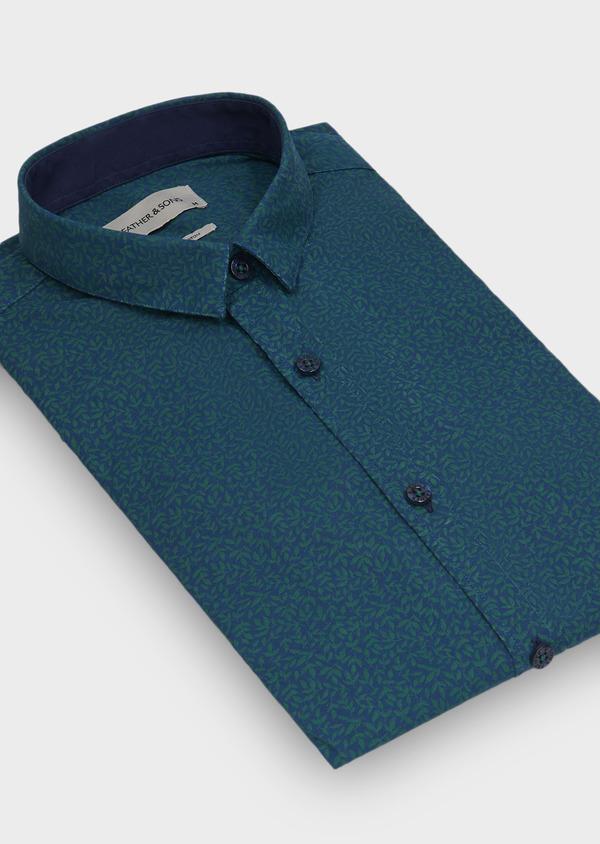 Chemise sport Slim en popeline de coton bleu à motif fantaisie vert - Father and Sons 29702