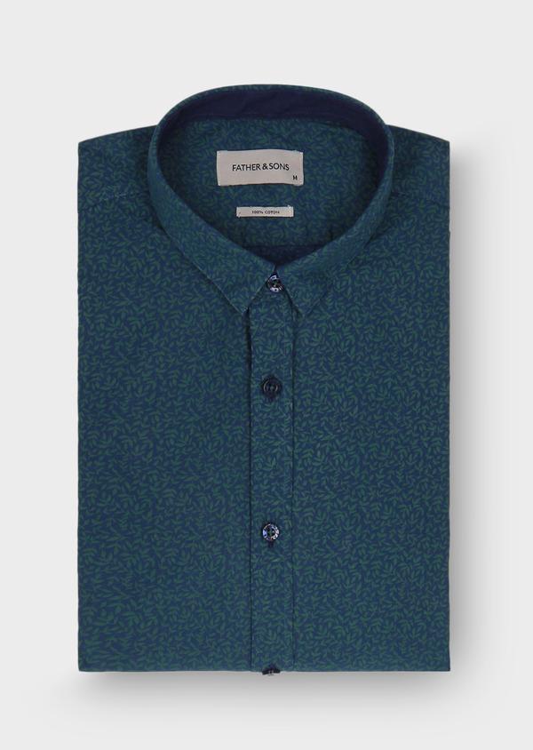 Chemise sport Slim en popeline de coton bleu à motif fantaisie vert - Father and Sons 29701