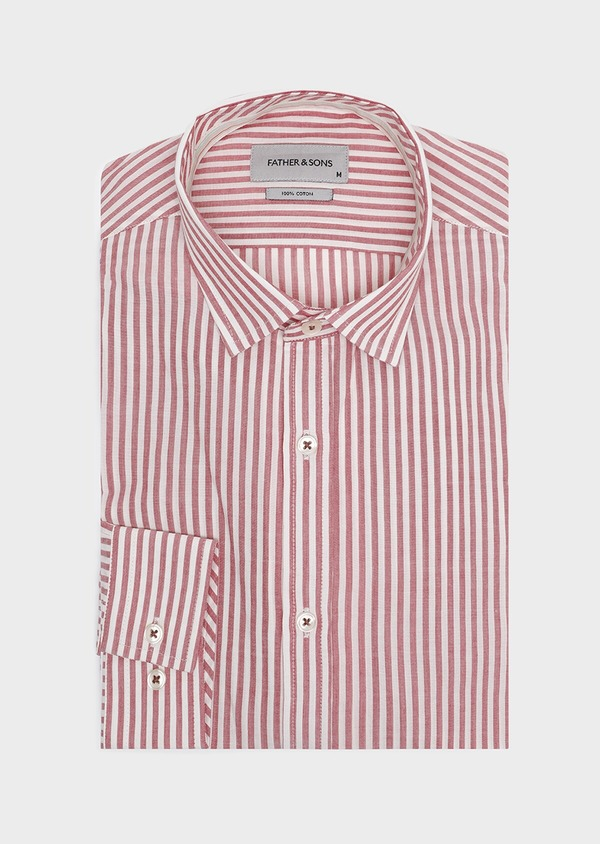 Chemise sport Slim en popeline de coton stretch à rayures rouges - Father and Sons 32606