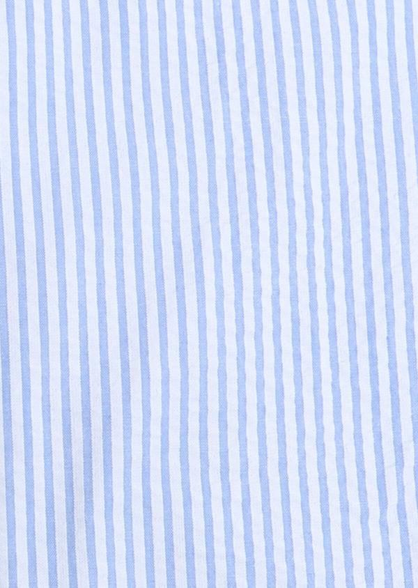 Chemise sport Slim en popeline de coton bleu ciel à rayures - Father and Sons 32579