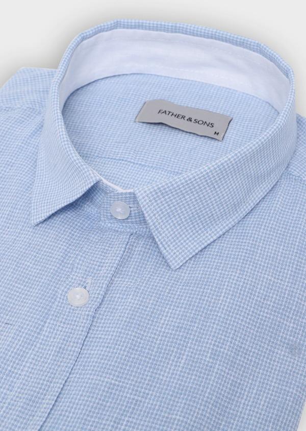 Chemise sport Slim en lin à rayures bleu ciel - Father and Sons 34417
