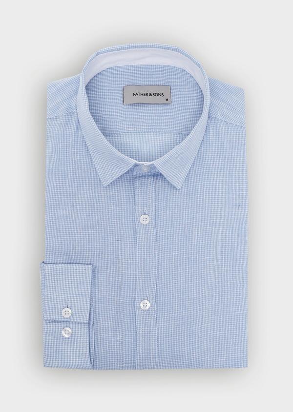 Chemise sport Slim en lin à rayures bleu ciel - Father and Sons 34413