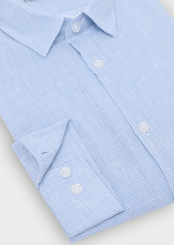 Chemise sport Slim en lin à rayures bleu ciel - Father and Sons 34416