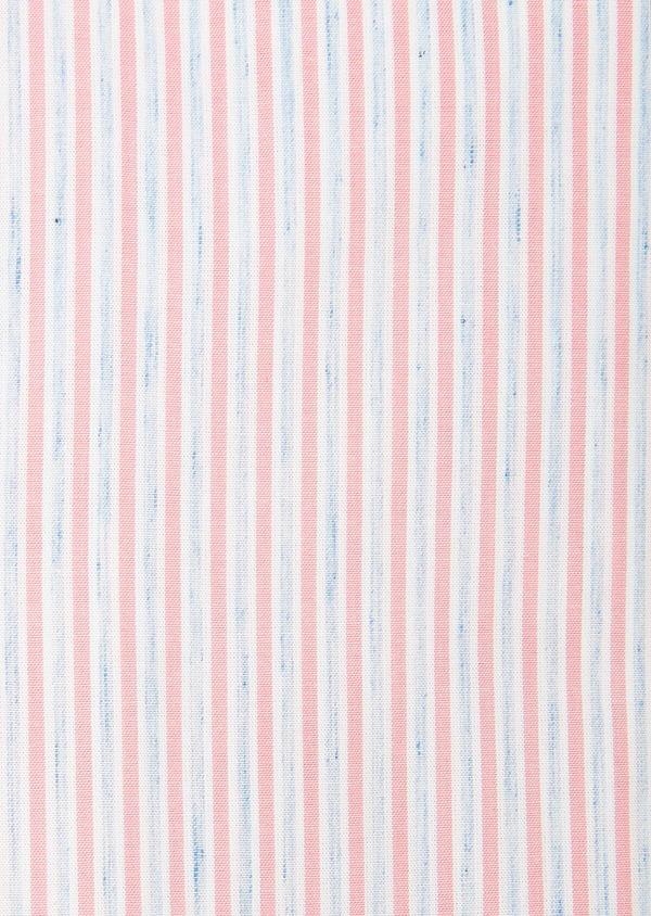 Chemise sport Slim en popeline de coton mélangé à rayures rose et bleu - Father and Sons 32551
