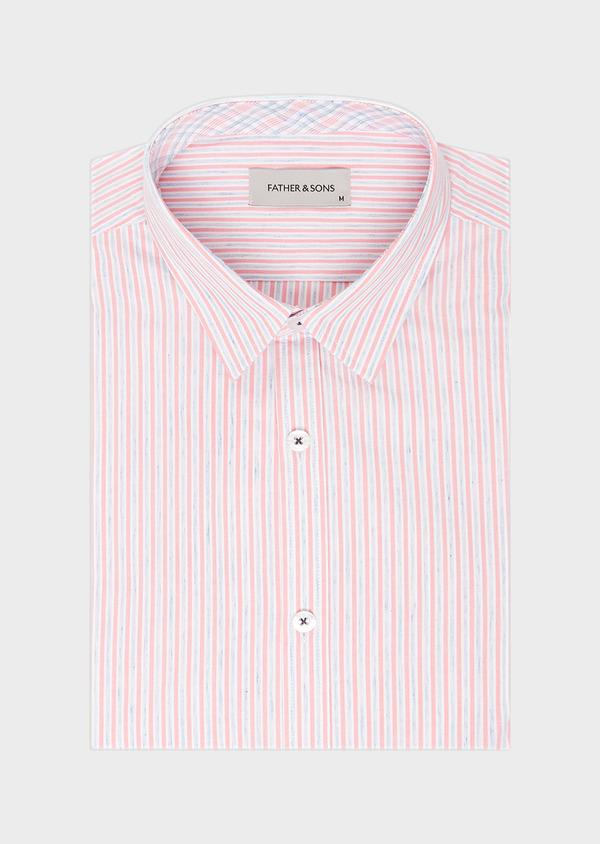 Chemise sport Slim en popeline de coton mélangé à rayures rose et bleu - Father and Sons 32550
