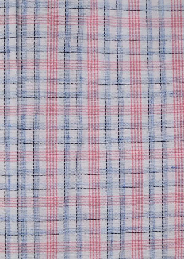 Chemise manches courtes Slim en popeline de coton mélangé rose à rayures - Father and Sons 34205