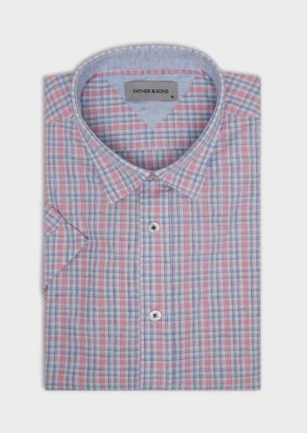 Chemise manches courtes Slim en popeline de coton mélangé rose à rayures - Father and Sons 34204