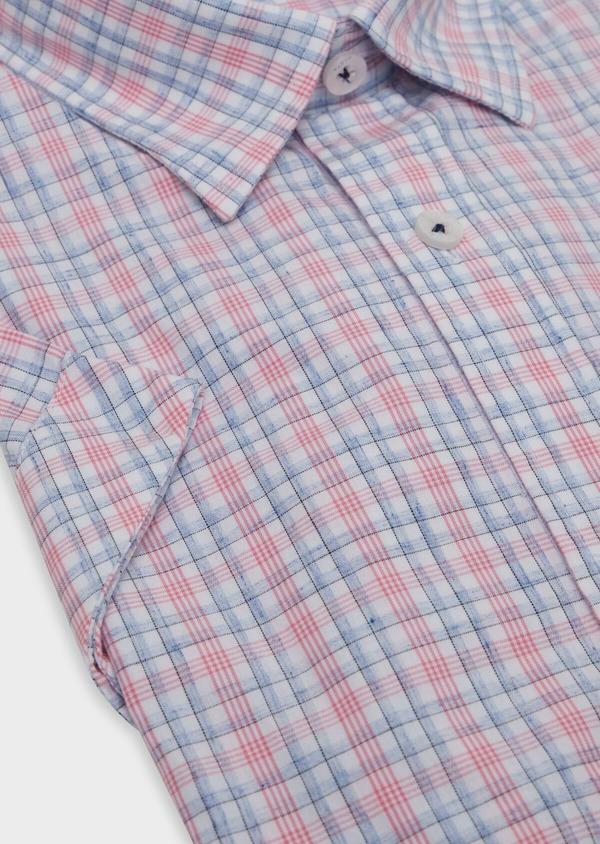 Chemise manches courtes Slim en popeline de coton mélangé rose à rayures - Father and Sons 34207