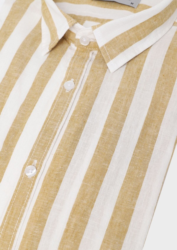 Chemise sport Slim en lin à rayures marron - Father and Sons 34411