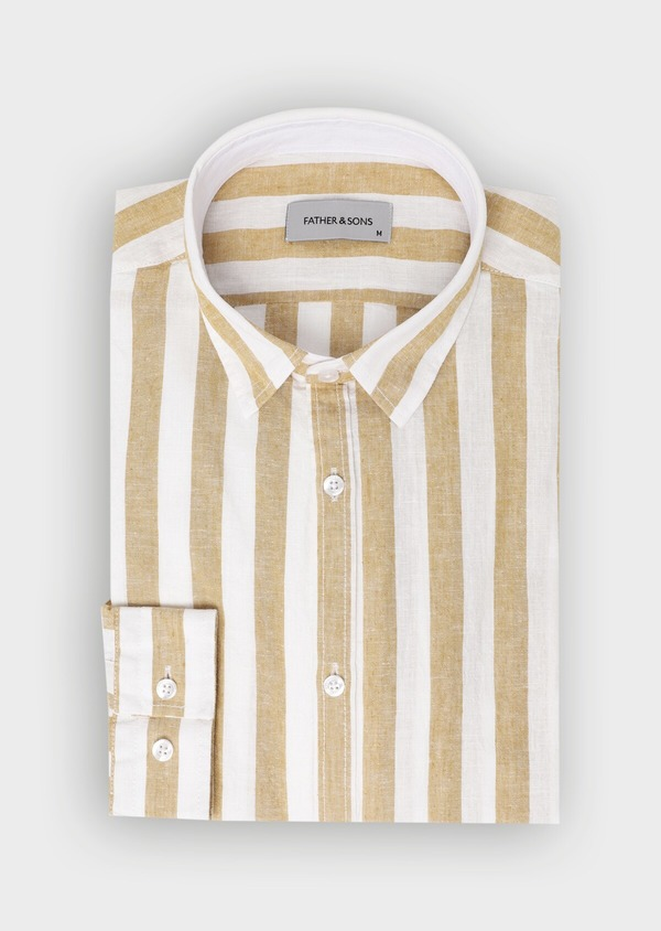 Chemise sport Slim en lin à rayures marron - Father and Sons 34409