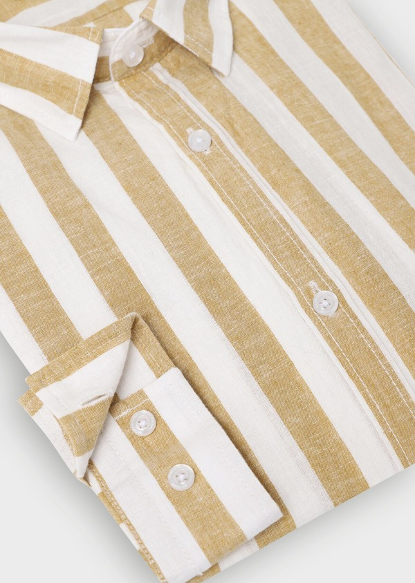 Chemise sport Slim en lin à rayures marron - Father and Sons 34412