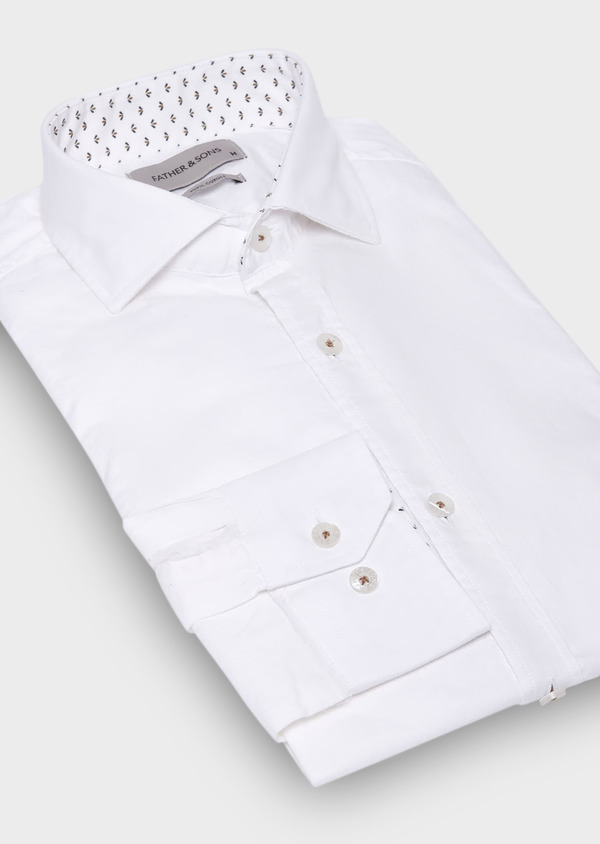Chemise sport Slim en popeline de coton uni blanc - Father and Sons 29674