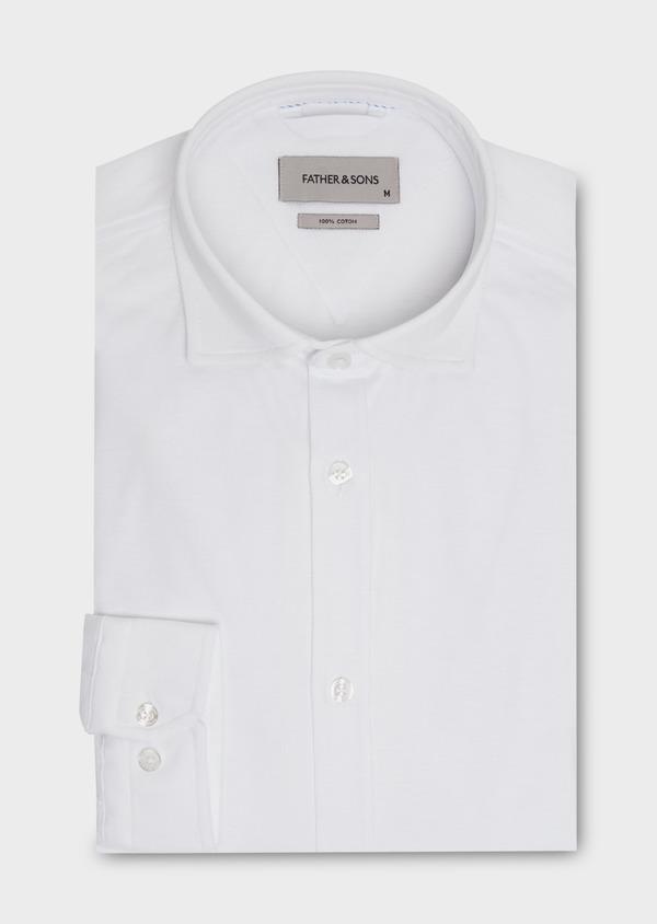 Chemise sport Slim en coton piqué uni blanc - Father and Sons 18262