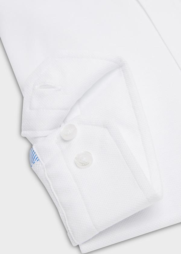 Chemise sport Slim en coton piqué uni blanc - Father and Sons 18264