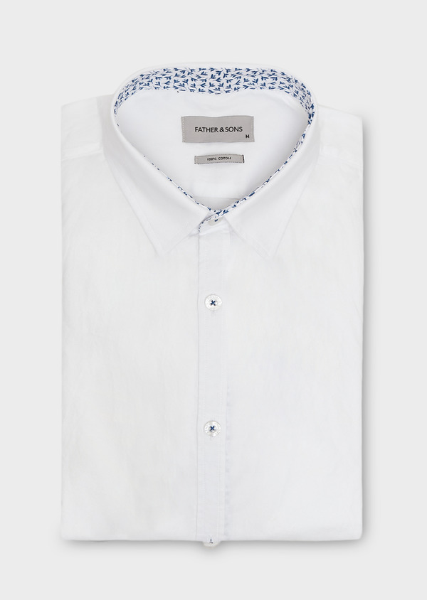 Chemise sport Slim en satin uni blanc - Father and Sons 27288