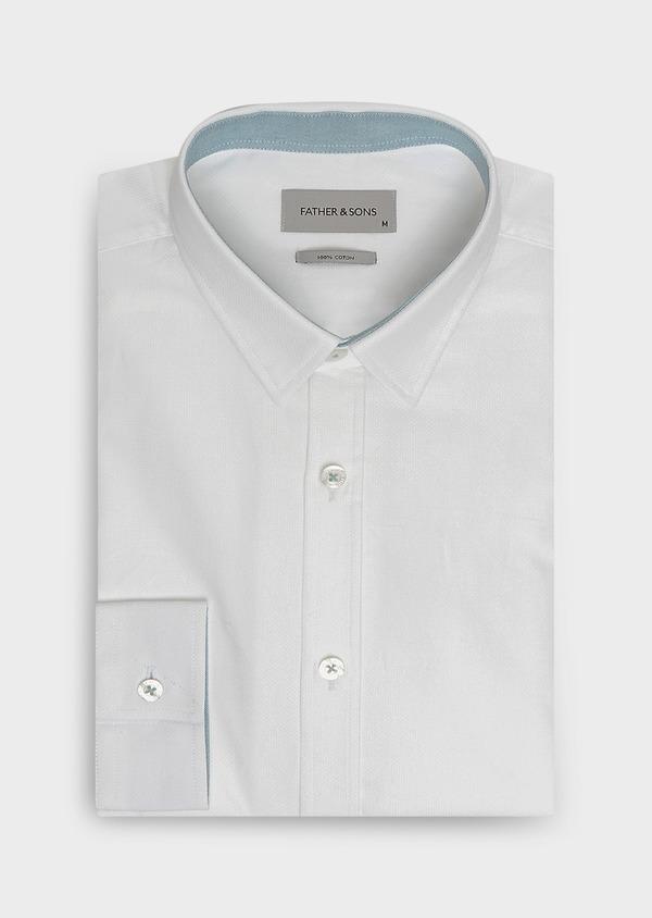 Chemise sport Slim en coton façonné blanc uni - Father and Sons 32610