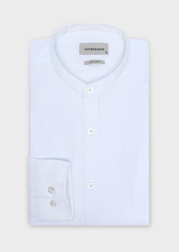 Chemise sport Slim en coton façonné uni bleu ciel à col officier - Father and Sons 32562