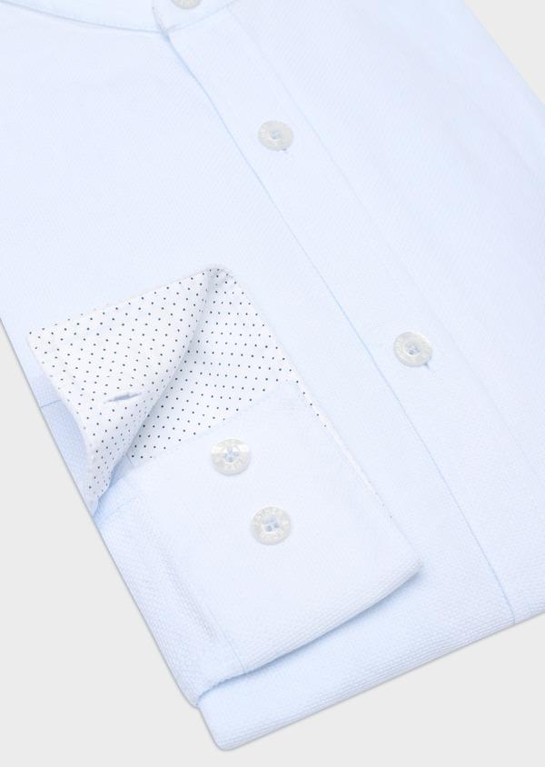 Chemise sport Slim en coton façonné uni bleu ciel à col officier - Father and Sons 32565