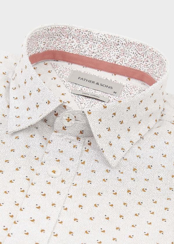 Chemise manches courtes Slim en popeline de coton à motifs noir et marron - Father and Sons 18258