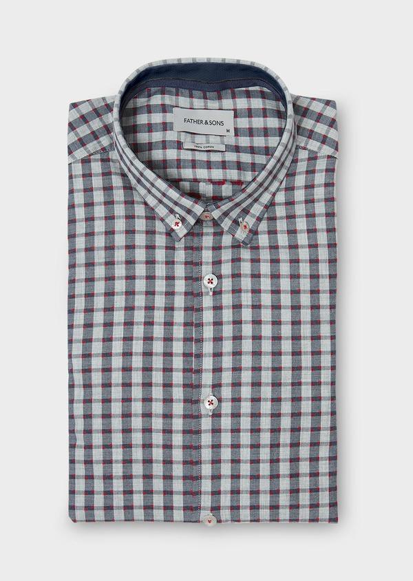 Chemise sport Regular en coton gris foncé à carreaux et pois rouges - Father and Sons 30460
