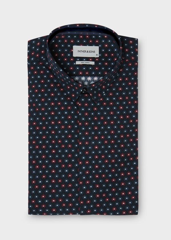 Chemise sport Slim en popeline de coton bleu foncé à motif fantaisie rouge et bleu - Father and Sons 30467