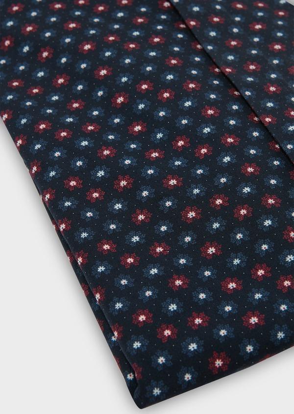 Chemise sport Slim en popeline de coton bleu foncé à motif fantaisie rouge et bleu - Father and Sons 30470