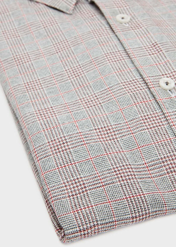 Chemise sport Slim en coton gris foncé à motif Prince-de-Galles rouge - Father and Sons 31320
