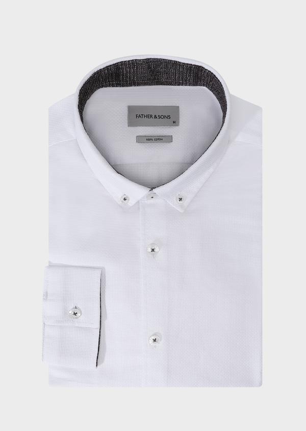 Chemise sport Slim en façonné de coton mélangé blanc - Father and Sons 30905