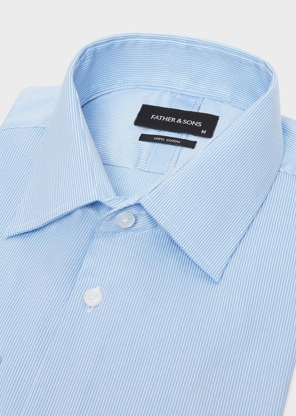 Chemise habillée Regular en twill de coton stretch à rayures bleu azur - Father and Sons 32440
