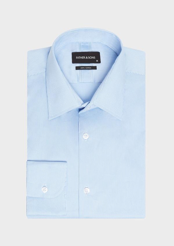 Chemise habillée Regular en twill de coton stretch à rayures bleu azur - Father and Sons 32438