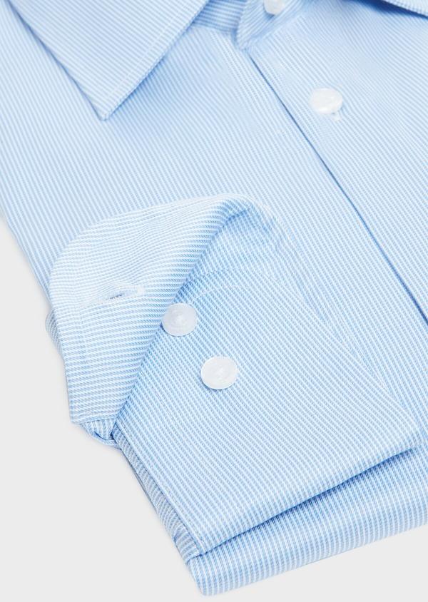 Chemise habillée Regular en twill de coton stretch à rayures bleu azur - Father and Sons 32441