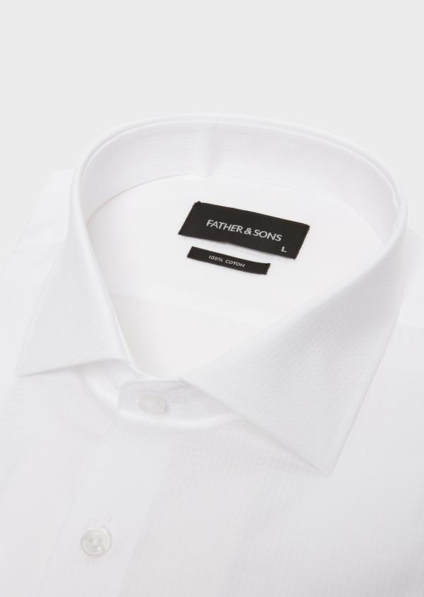 Chemise habillée Regular en coton façonné uni blanc - Father and Sons 18240