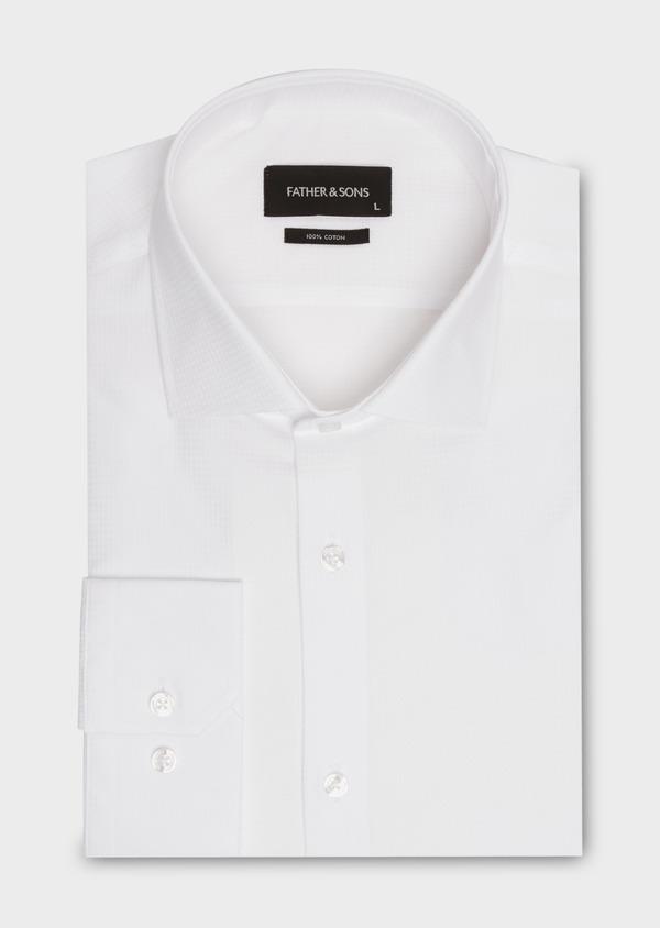 Chemise habillée Regular en coton façonné uni blanc - Father and Sons 18239