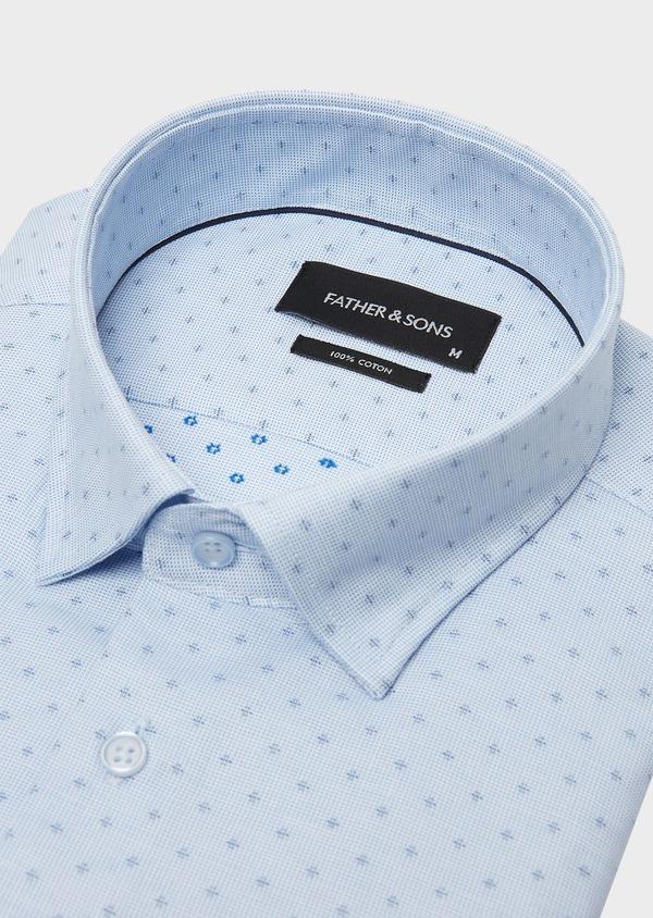 Chemise habillée Regular à motif fantaisie bleu azur - Father and Sons 26018