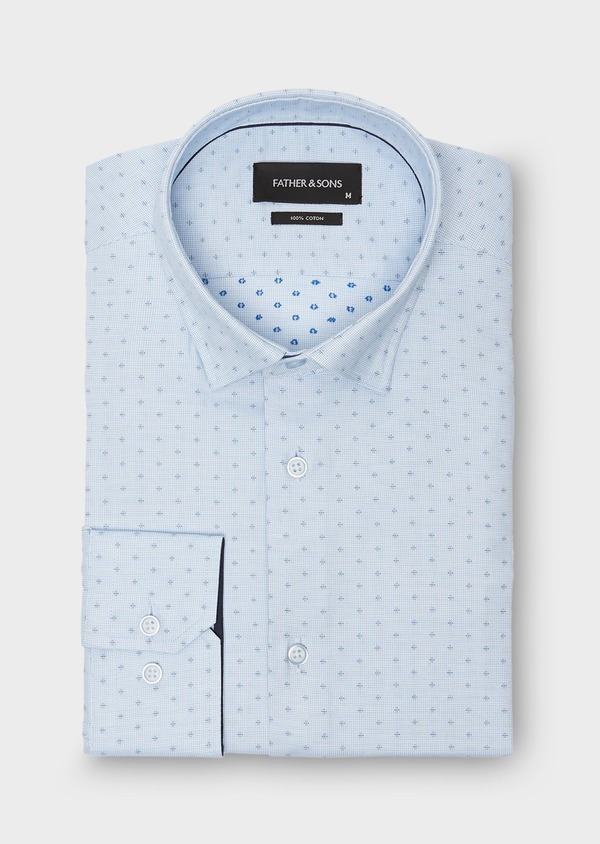 Chemise habillée Regular à motif fantaisie bleu azur - Father and Sons 26016