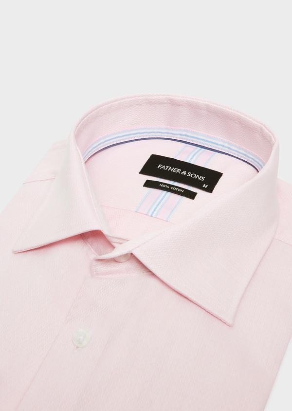 Chemise habillée Regular en coton façonné rose à motif fantaisie blanc - Father and Sons 32408