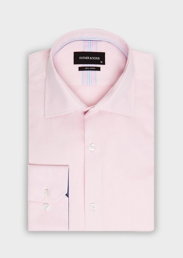Chemise habillée Regular en coton façonné rose à motif fantaisie blanc - Father and Sons 32406