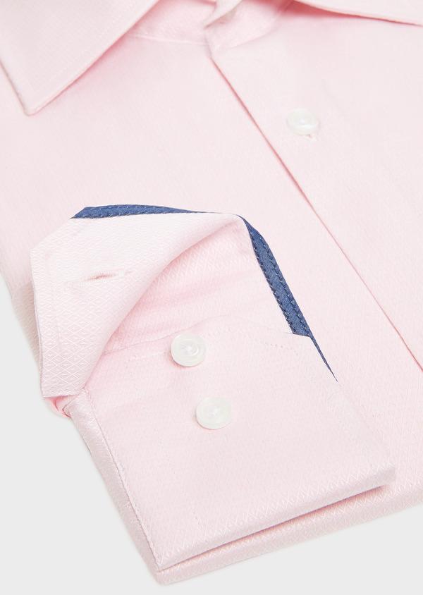 Chemise habillée Regular en coton façonné rose à motif fantaisie blanc - Father and Sons 32409