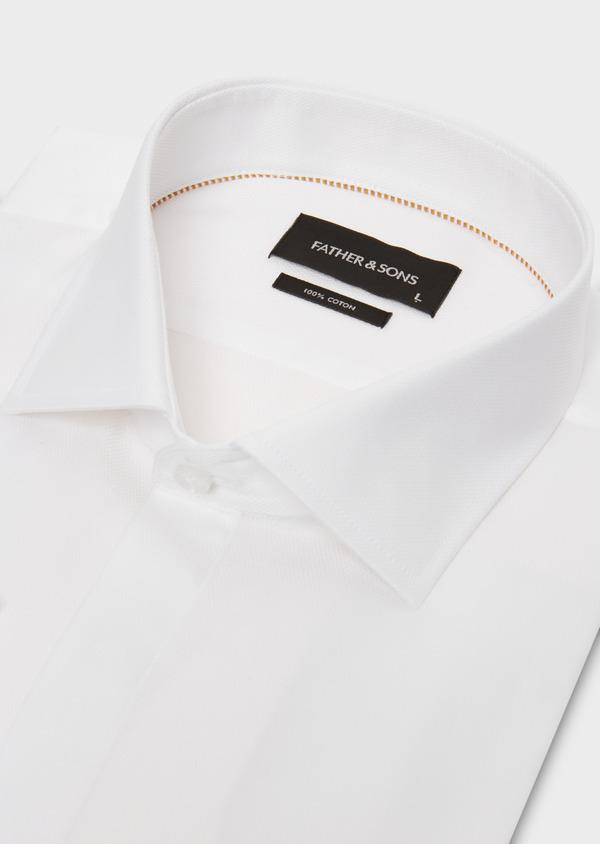 Chemise habillée Regular en façonné de coton écru à motifs fantaisie - Father and Sons 18246