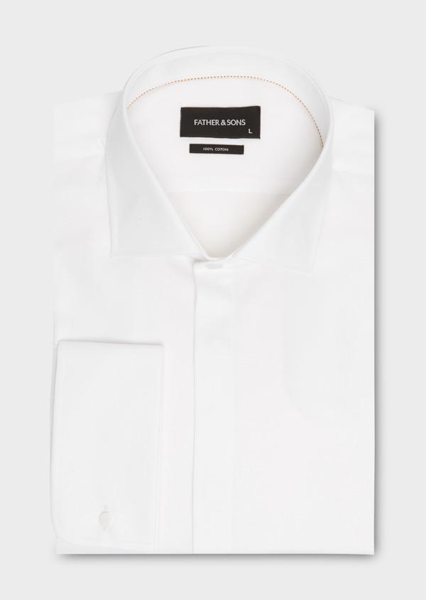 Chemise habillée Regular en façonné de coton écru à motifs fantaisie - Father and Sons 18244