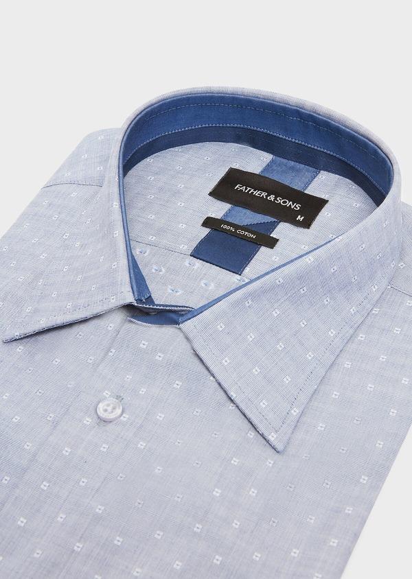 Chemise habillée Regular en coton fil-à-fil bleu indigo à motif fantaisie blanc - Father and Sons 32432
