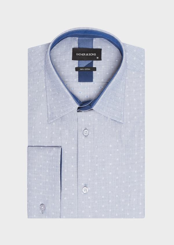 Chemise habillée Regular en coton fil-à-fil bleu indigo à motif fantaisie blanc - Father and Sons 32430