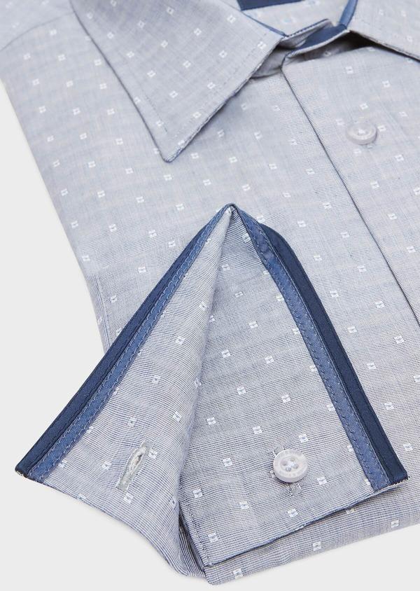 Chemise habillée Regular en coton fil-à-fil bleu indigo à motif fantaisie blanc - Father and Sons 32433